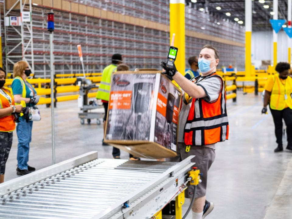 <strong>A deer feeder was the first item received by Amazon&rsquo;s new fulfillment center at 11505 Progress Way in Olive Branch.</strong> (Submitted by Amazon)