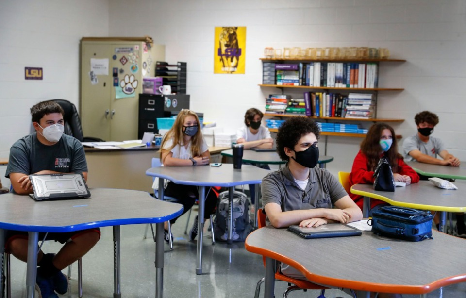 <strong>Houston High School students are social distanced while attending physics class on the first day of school Monday, August 17, 2020.</strong> (Mark Weber/Daily Memphian)