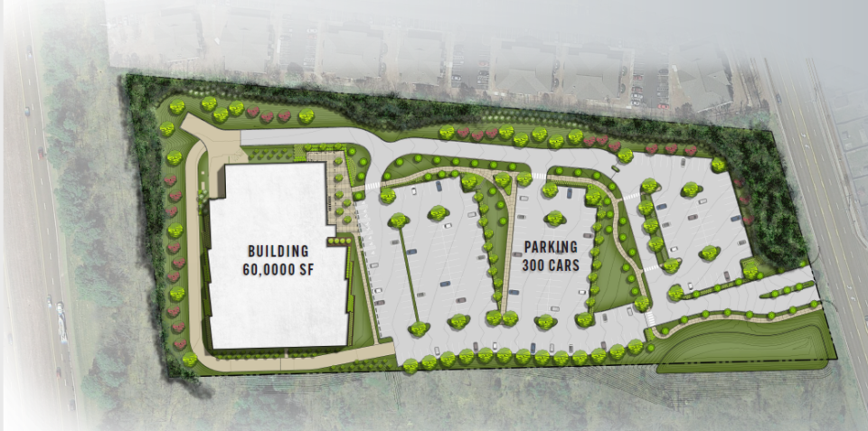 <strong>The approved site plan for the nearly 10-acre site is bounded by Airways (right), Interstate 55 (left) and the Terraces of Southaven apartments above, or north.</strong> (Credit: A2H)