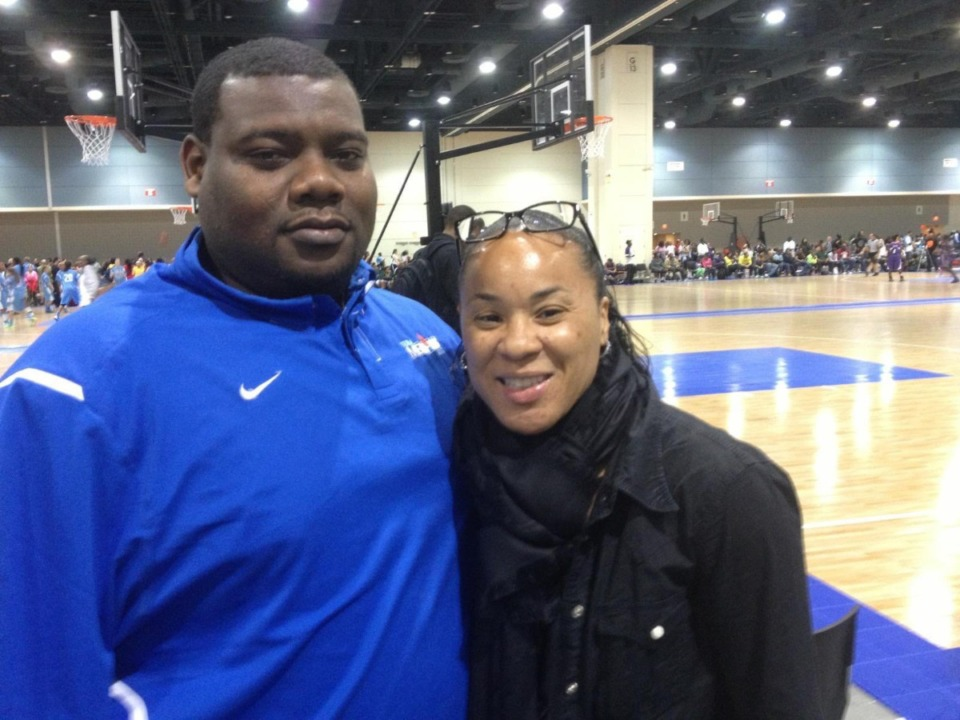 <strong>New Millington girls basketball coach Jason Nichols is pictured here with University of South Carolina&rsquo;s head women&rsquo;s basketball coach Dawn Staley. </strong>(Courtesy of&nbsp;Jason Nichols)