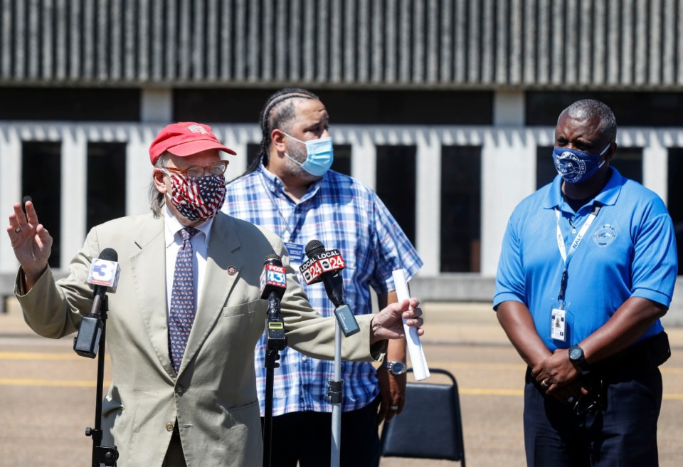 <strong>U.S. Rep. Steve Cohen (left) holds a press conference to discuss postal service issues on Tuesday, Aug. 18, at the National Association of Letter Carriers Union office in Memphis. &ldquo;Right now the Post Office is under attack, and it is literally a criminal offense that&rsquo;s being engaged in by the Trump Administration and the Postmaster ... ,&rdquo; Cohen said.</strong> (Mark Weber/Daily Memphian)