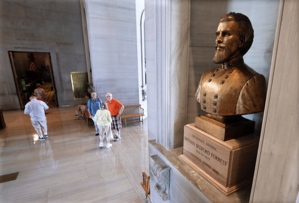 <strong>In this Aug. 17, 2017 file photo, a bust of Nathan Bedford Forrest is displayed in the Tennessee State Capitol, in Nashville.</strong> (AP Photo/Mark Humphrey)