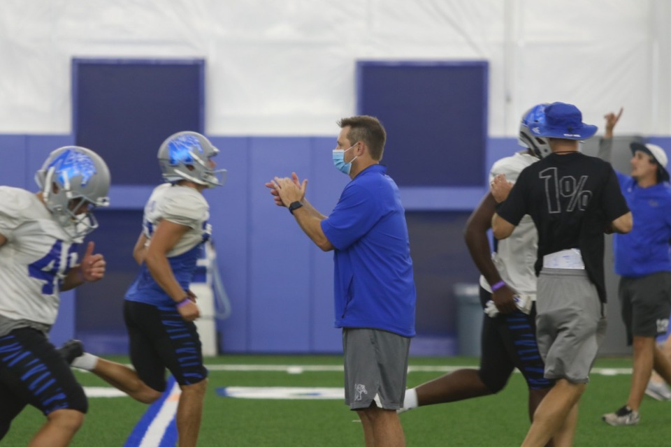 <strong>Ryan Silverfield in action at the Aug. 11 practice.</strong> (Source: Memphis Athletics)