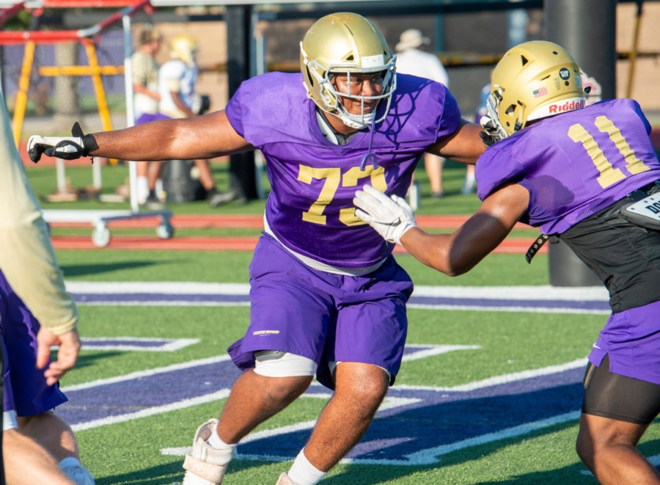 <strong>CBHS lineman D.J. Harden works through plays during practice Monday, August 17, 2020.</strong> (Greg Campbell/Special to The Daily Memphian)