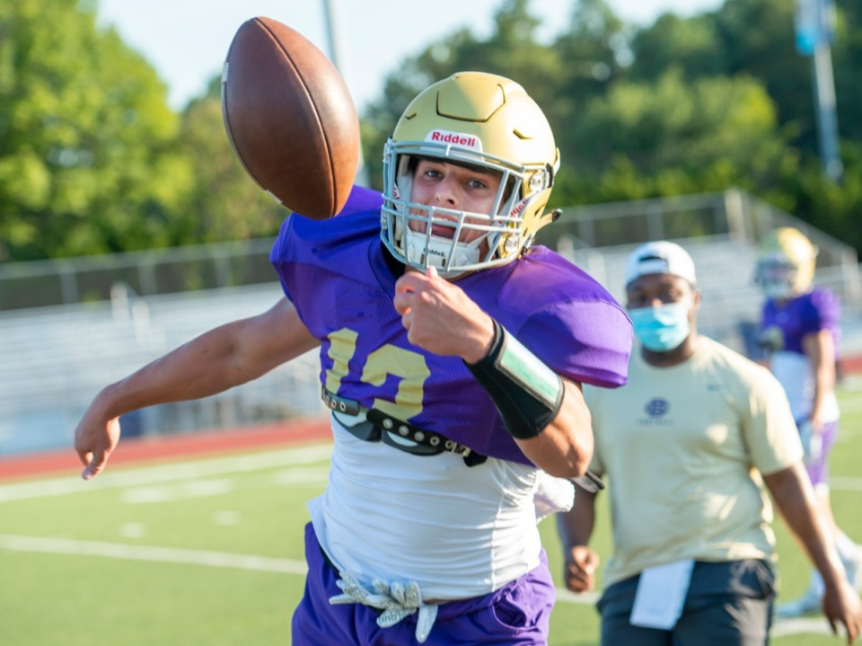 <strong>CBHS quarterback and receiver Trace Heffernan reaches for a pass during practice Monday, August 17, 2020.</strong> (Greg Campbell/Special to The Daily Memphian)