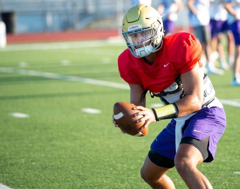 <strong>CBHS quarterback Ashton Strother works through drills duirng practice Monday, August 17, 2020.</strong> (Greg Campbell/Special to The Daily Memphian)