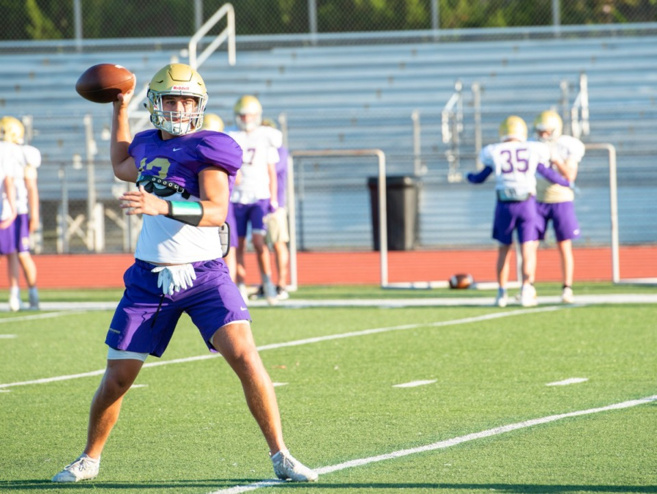 <strong>CBHS quarterback and receiver Trace Heffernan runs through plays during practice Monday, August 17, 2020.</strong> (Greg Campbell/Special to The Daily Memphian)