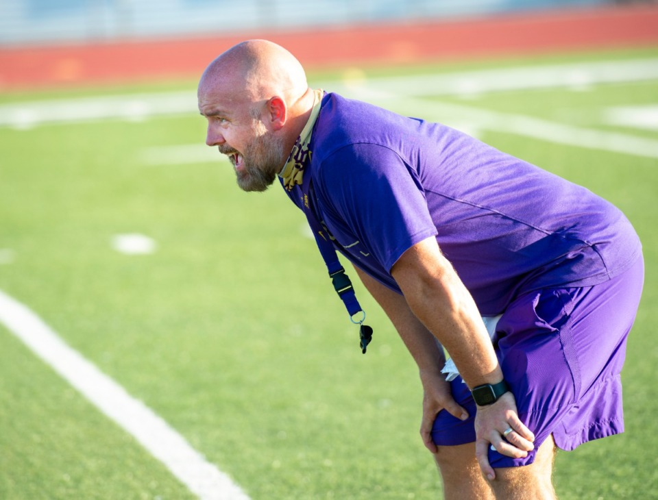 <strong>CBHS head football coach Thomas McDaniel keeps his eye on practice as his teams runs plays Monday, August 17, 2020.</strong> (Greg Campbell/Special to The Daily Memphian)