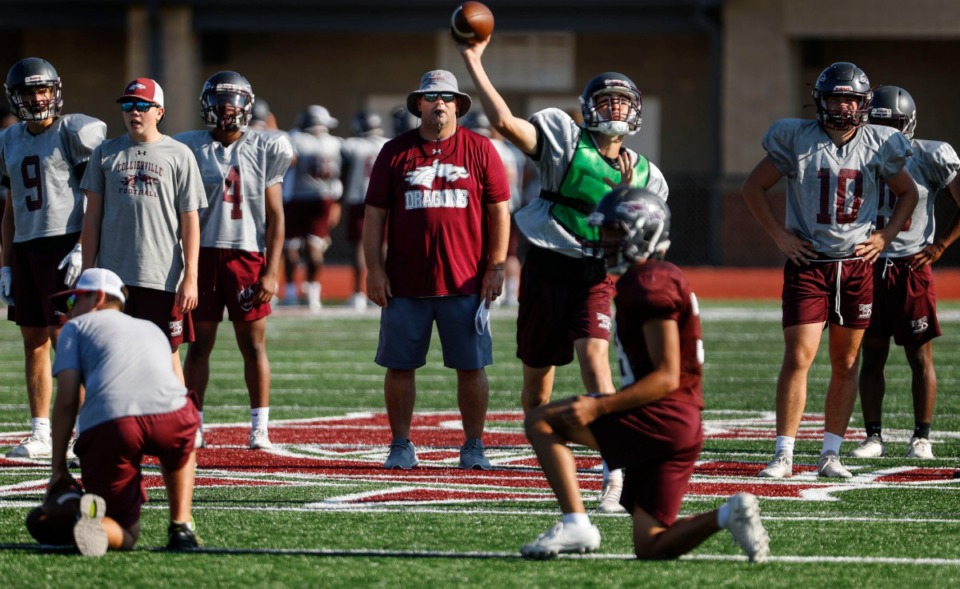 <strong>Collierville High School head coach Joe Rocconi (middle) watches his players during football practice on Wednesday, Aug. 5.</strong> (Mark Weber/Daily Memphian)