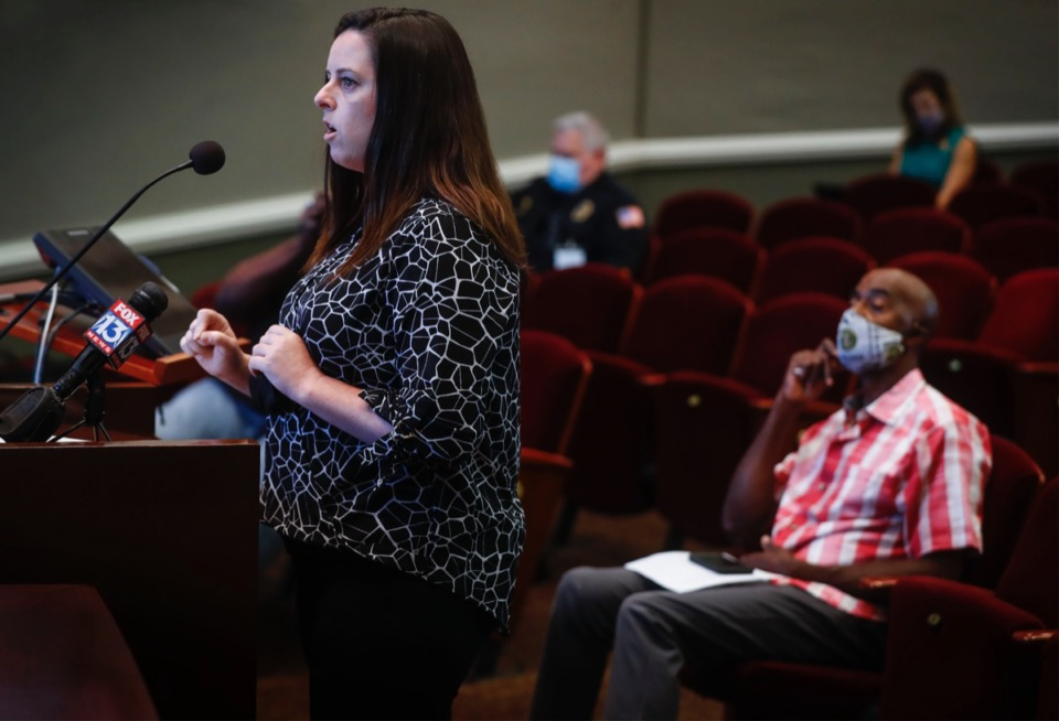 <strong>Collierville resident Kate Tooley speaks during an&nbsp;Aug. 24, 2020, Collierville Mayor and Board of Aldermen meeting, asking that a Confederate monument in Town Square Park be removed. The monument was donated by the Daughters of Confederacy in the 1940s.</strong> (Mark Weber/Daily Memphian)