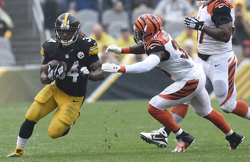 <strong>Former Tiger DeAngelo Williams struts his stuff for the Pittsburgh Steelers against the Cincinnati Bengals Sept. 18, 2016, in Pittsburgh.</strong>&nbsp; <strong>Williams said Kenneth Gainwell could top his old records at U of M.</strong> (Don Wright/AP file)
