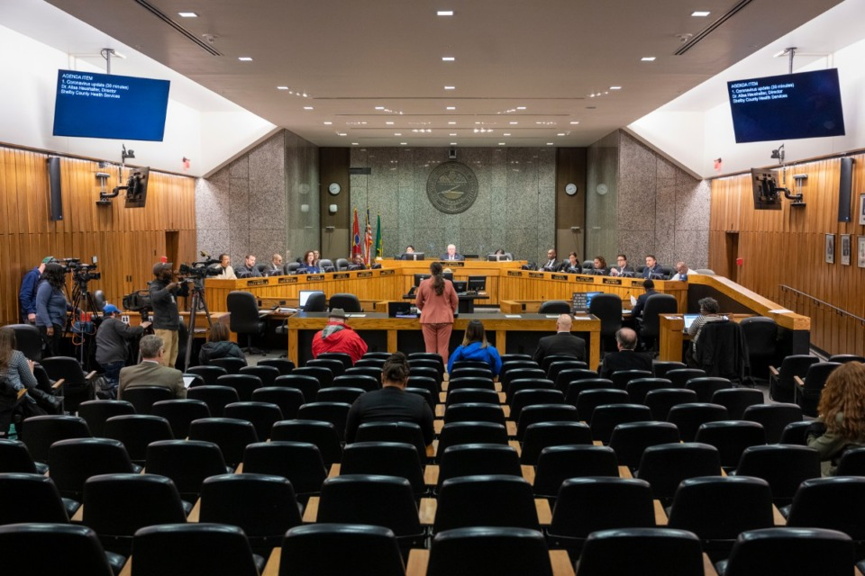 <strong>Dr. Alisa Haushalter, Shelby County Healthy Department Director, presented to the Shelby County Commission early on in the pandemic.</strong> (Greg Campbell/ Daily Memphian file)