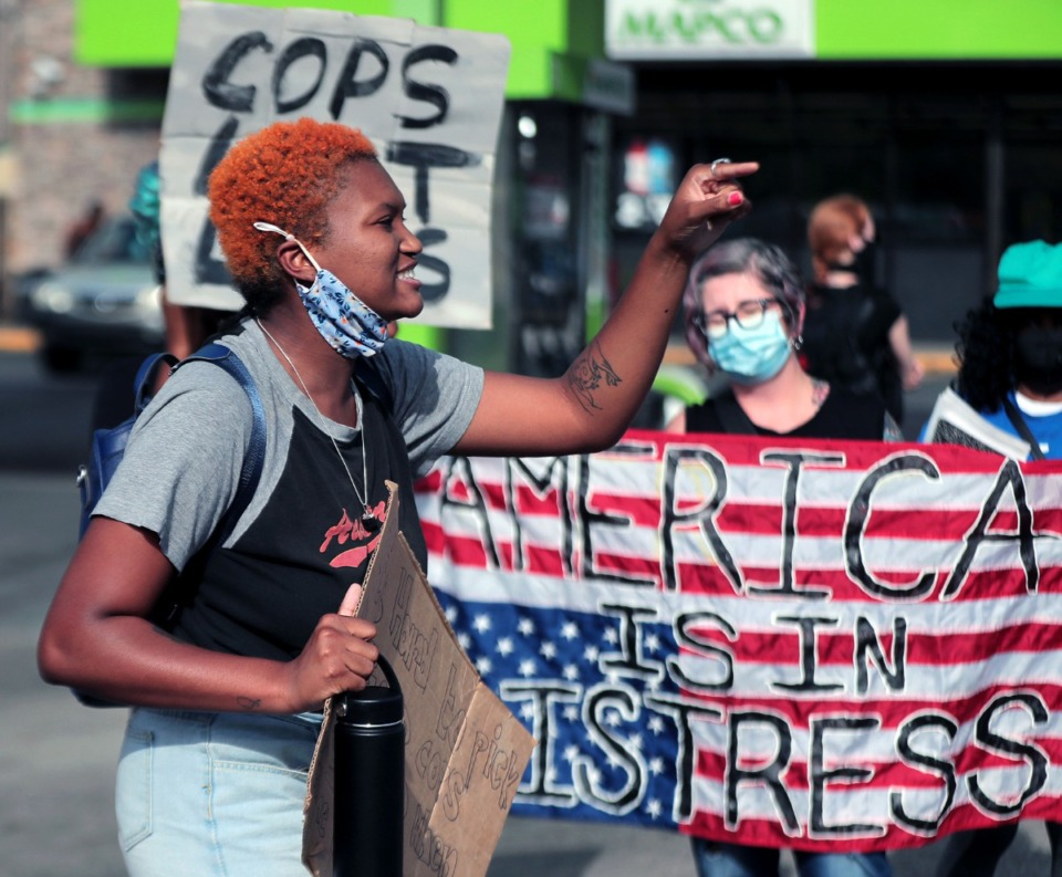 <strong>Jordan Dodson joins other protesters&nbsp; on Wednesday, Aug. 26, at a South Memphis Mapco where U.S. Marshals shot a 17-year-old a day earlier in a case of mistaken identity.</strong> (Patrick Lantrip/Daily Memphian)