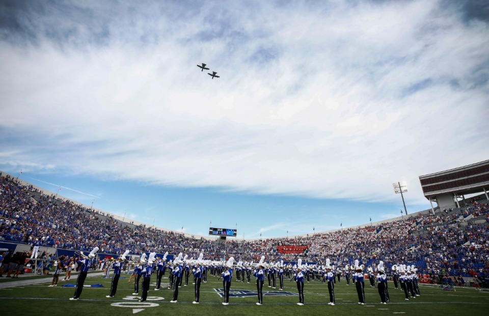<strong>The Mighty Sound of the South plays the national anthem at the University of Memphis versus Ole Miss at the Liberty Bowl Memorial Stadium Saturday, August 31, 2019.</strong> (Mark Weber/Daily Memphian)