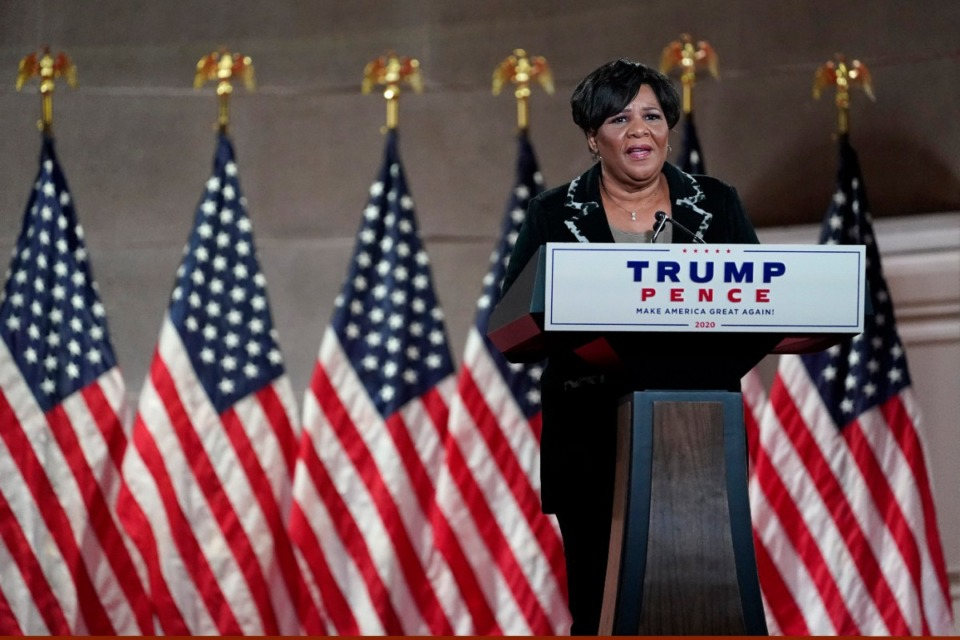 <strong>Alice Johnson, who was granted clemency by President Donald Trump, tapes her speech for the fourth day of the Republican National Convention from the Andrew W. Mellon Auditorium in Washington, Thursday, Aug. 27, 2020.</strong> (AP Photo/Susan Walsh)