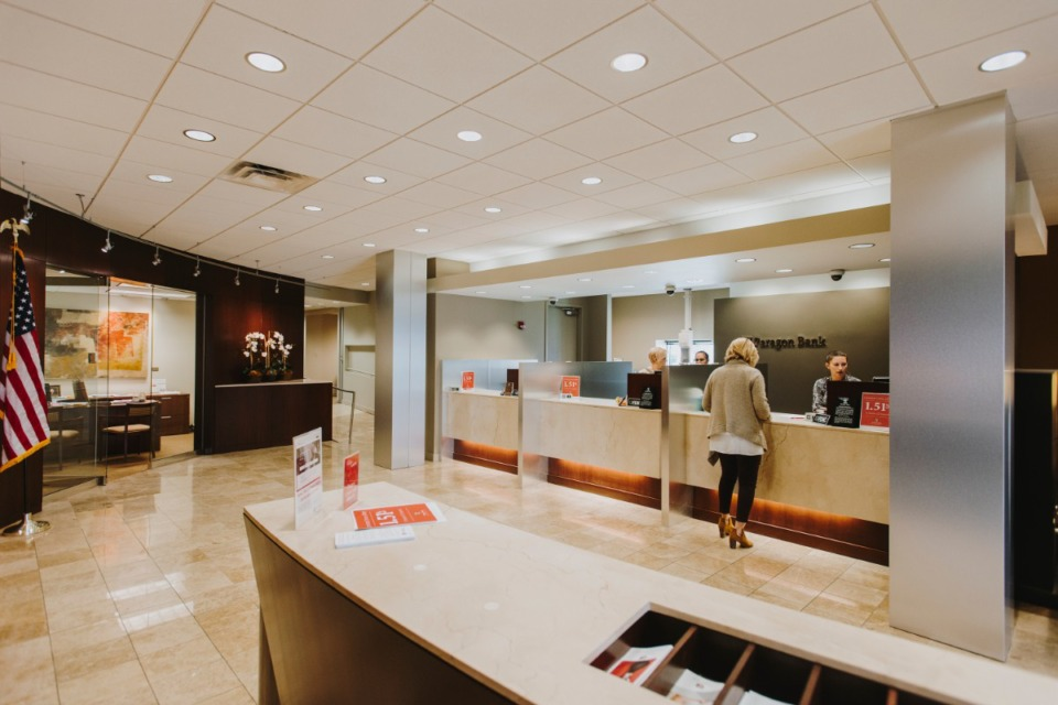 <strong>The rankings of Memphis-based banks by total assets has changed slightly from the previous quarter, with First Horizon, Independent Bank and Landmark Community Bank again rounding out the top three spots. Meanwhile, Paragon Bank, whose East Memphis location&rsquo;s lobby is pictured in this file photo, moved to the No. 8 spot, and Fidelity Bank slipped to No. 9.</strong> (Daily Memphian file)