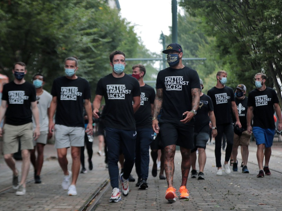 <strong>The Memphis 901 FC soccer team decided to forgo their Aug. 29, 2020 game against North Carolina FC to protest racial injustice. The team instead decided to walk from AutoZone Park to the National Civil Rights Museum.</strong> (Patrick Lantrip/Daily Memphian)