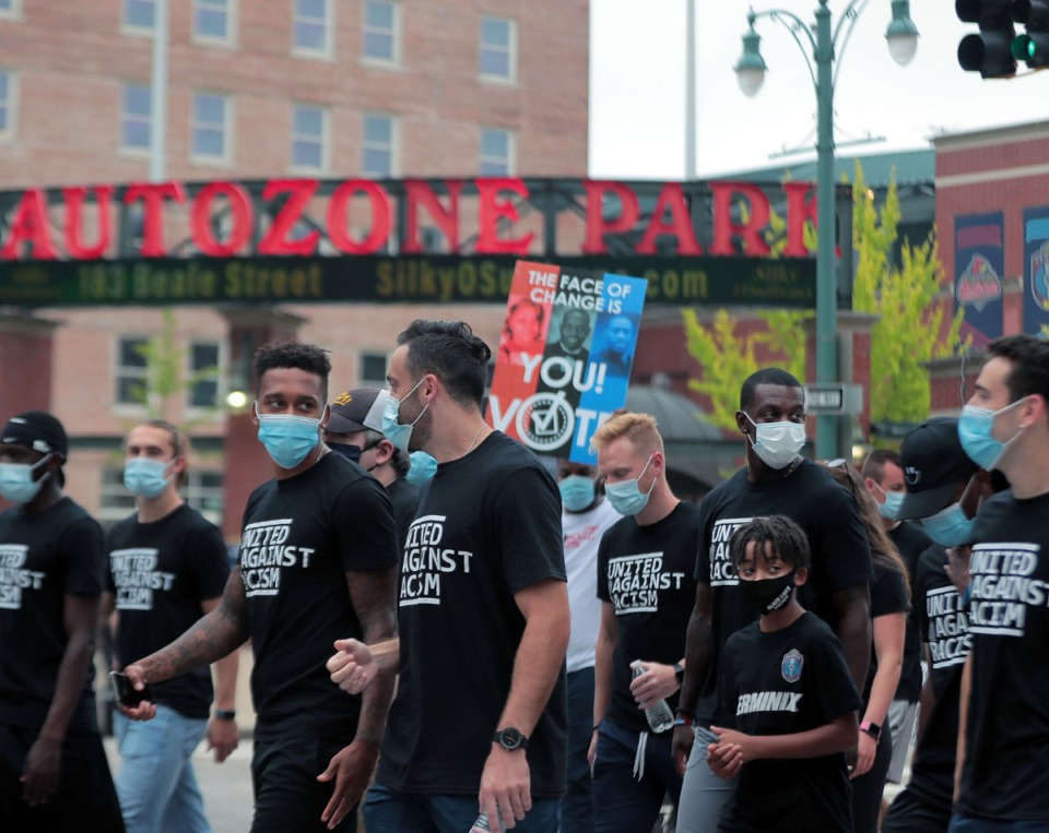 <strong>The Memphis 901 FC soccer team decided to forgo their Aug. 29, 2020 game against North Carolina FC to protest racial injustice. The team instead decided to walk from AutoZone Park to the National Civil Rights Museum.</strong>&nbsp;(Patrick Lantrip/Daily Memphian)