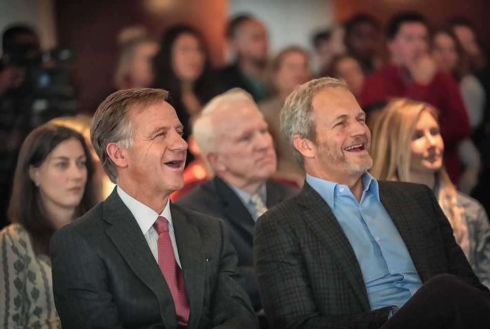 <strong><span>Tennessee Gov. Bill Haslam (left) and Indigo CEO David Perry listen to comments by Memphis Mayor Jim Strickland during a formal announcement on Wednesday, Dec. 12, 2018, that the Boston-based agritech company will establish its headquarters for North American commercial operations at the Toyota Center in Downtown Memphis, increasing its workforce by another 700 corporate employees and investing $6.6 million over the next three years.</span></strong><span> (Jim Weber/Daily Memphian)</span>