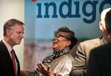 <strong>Tennessee Gov. Bill Haslam (left) jokes with new Chamber of Commerce Director Beverly Robertson after a formal announcement on Dec. 12, 2018, that agritech company Indigo<span> will establish its headquarters for North American commercial operations at the Toyota Center in Downtown Memphis</span>.</strong> (Jim Weber/Daily Memphian)