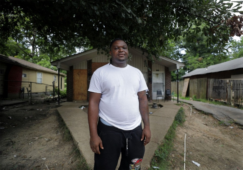 <strong>Antonio Strawder stands outside his North Memphis home on Aug. 26, next to the spot where he was repeatedly shocked with a Taser by Memphis Police Department officer Otto Kiehl while being arrested for driving without a license. </strong>(Patrick Lantrip/Daily Memphian)
