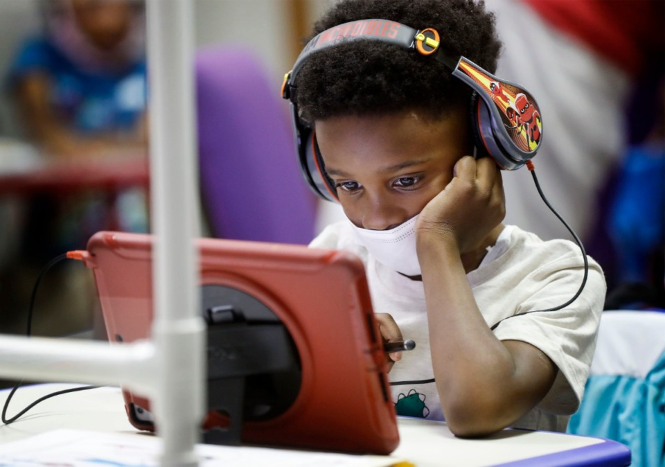 <strong>Jason Butler, 6, a first grader at Memphis Delta Prep, attends New Life Learning Academy&rsquo;s virtual class on Monday, Aug. 31, 2020. </strong>(Mark Weber/Daily Memphian)