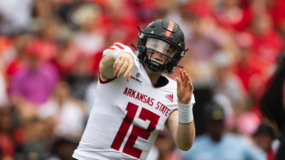 <strong>Arkansas State quarterback Logan Bonner, seen here in 2019, was solid last season in four starts with 1,052 yards and 10 touchdowns against one interception.</strong> (John Amis/AP file)