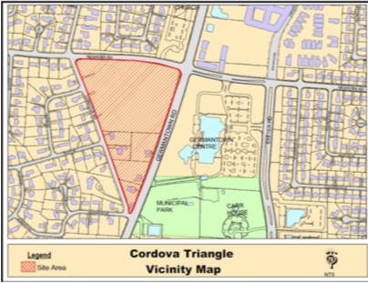<strong>Cordova Triangle is named for Cordova Road, the property's western border. Neshoba Road and Germantown Road form the other two sides of the tract. </strong>(Courtesy of the city of Germantown)