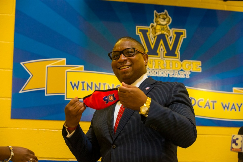 <strong>Superintendent Dr. Joris Ray tours on first day back to school at Winridge Elementary on Monday, Aug. 31, 2020.</strong> (Ziggy Mack/Special to The Daily Memphian)