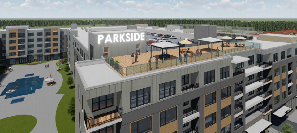 <strong>The tweaked site plan will give apartment residents better views of the park, developers of Parkside at Shelby Farms say.</strong> (Credit: Chasm Architecture)