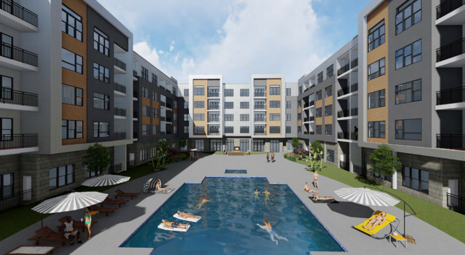 <strong>In redesigning the hotel, retail and apartments, developers intend to create more appealing, walkable areas among the buildings and between the park and the Parkside development.</strong> (Credit: Chasm Architecture)