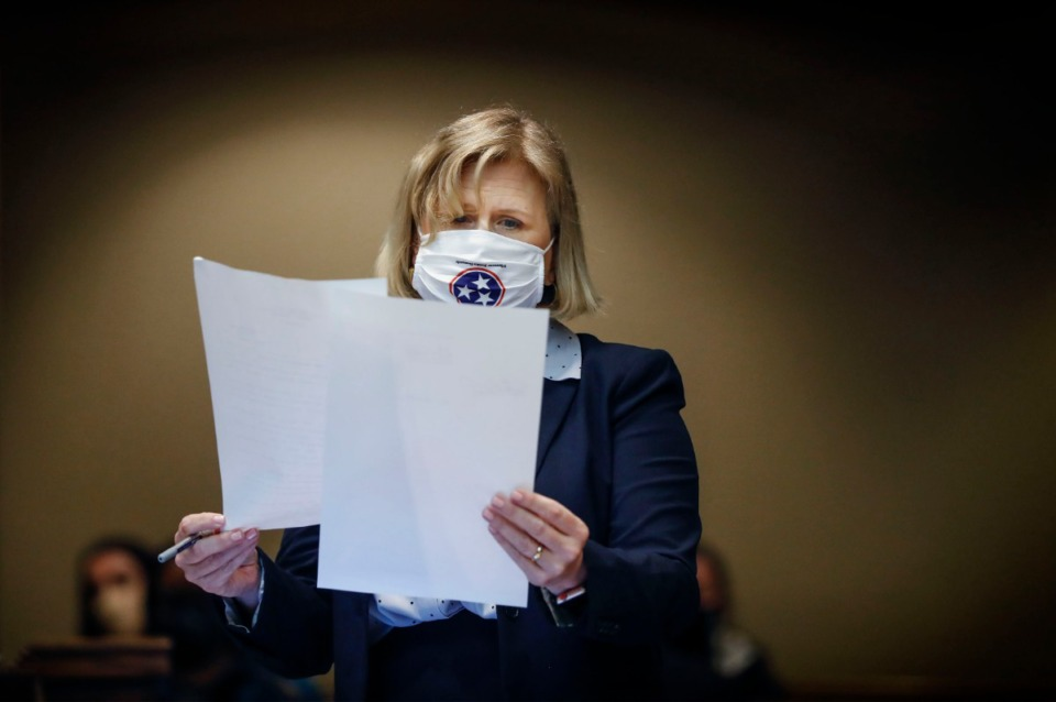 <strong>Defense attorney Kelley Henry looks over documents during a hearing on Pervis Payne&rsquo;s motion for DNA testing of recently found evidence on Tuesday, Sept. 1, 2020, in Division 1 of the Criminal Court. Payne was charged in the 1987 murders of a Millington woman and her young daughter. He is slated to be executed in December and the Innocence Project is trying to prove he is innocent.</strong> (Mark Weber/Daily Memphian)
