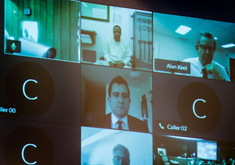 <strong>Death Row inmate Pervis Payne (top middle) along with several lawyers, listens to testimony virtually during a hearing on his motion for DNA testing of recently found evidence on Sept. 1, 2020.</strong> (Mark Weber/Daily Memphian)