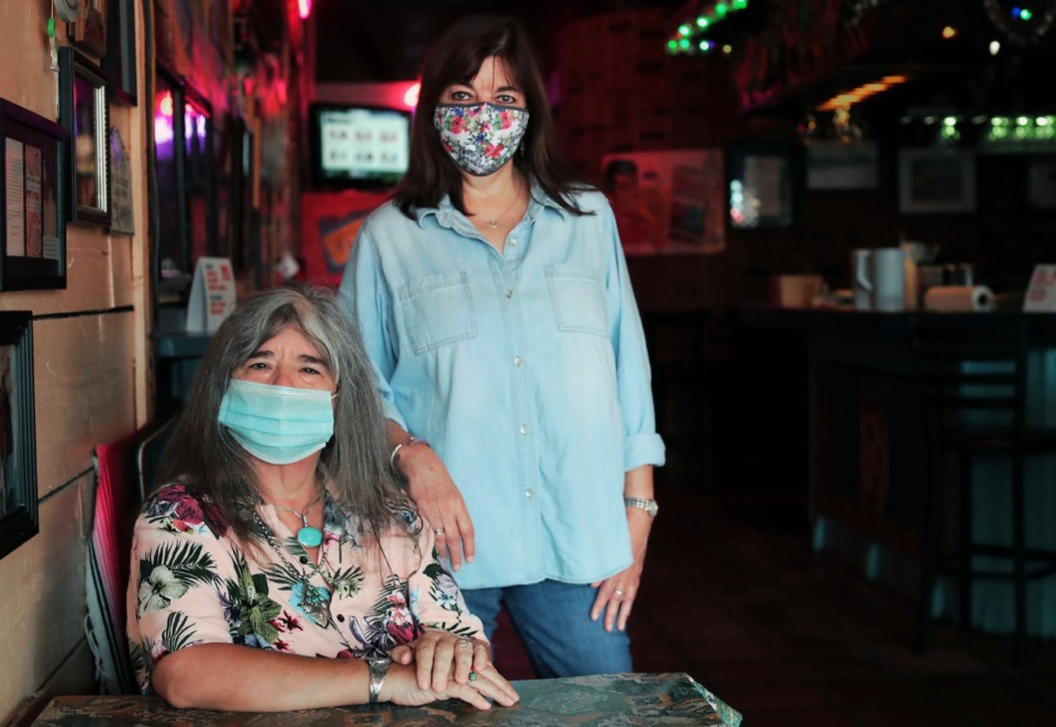 <strong>Molly's La Casita owner Jaime Chapman (right) and general manager Kelly Johnson pose for a portrait in the popular Midtown restaurant Sept. 1, 2020.</strong> (Patrick Lantrip/Daily Mempian)