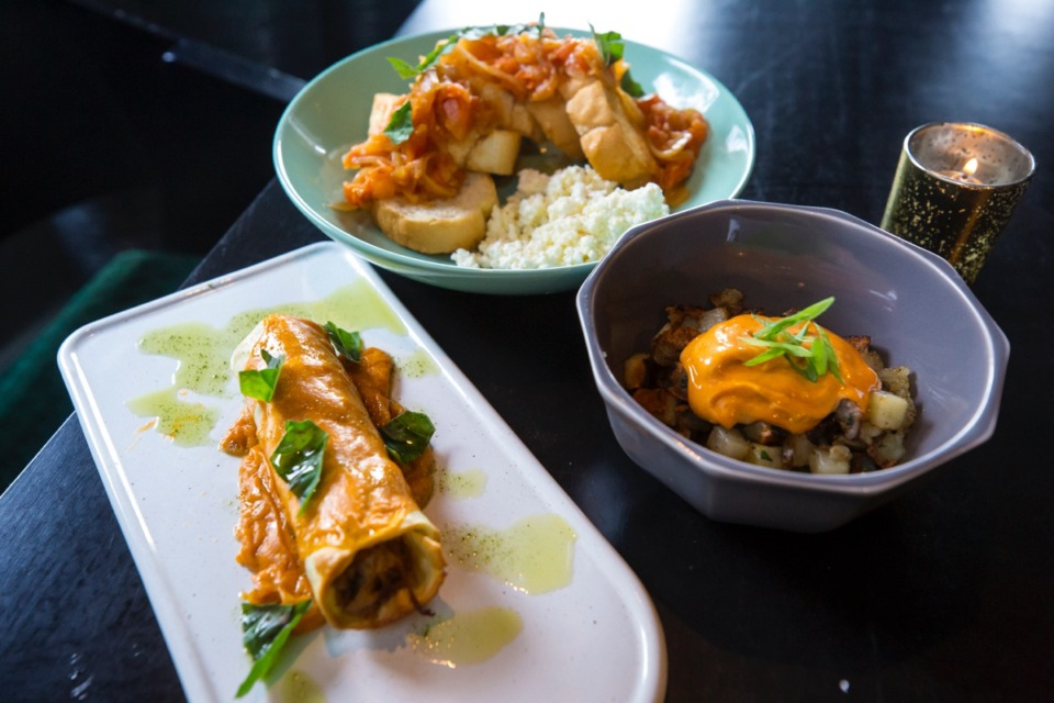 <strong>The (from left) canalon, pa amb tomaquet and patatas bravas are available at Restaurant Iris in Midtown.</strong> (Ziggy Mack/Special to The Daily Memphian)