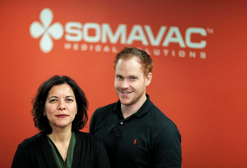 <strong>CEO Esra Roan and Cheif Technical Officer Josh Herwig from SOMAVAC received FDA clearance for their medical device with help from ZeroTo510, a local accelerator program designed to fast-track medical startups.</strong> (Jim Weber/Daily Memphian)