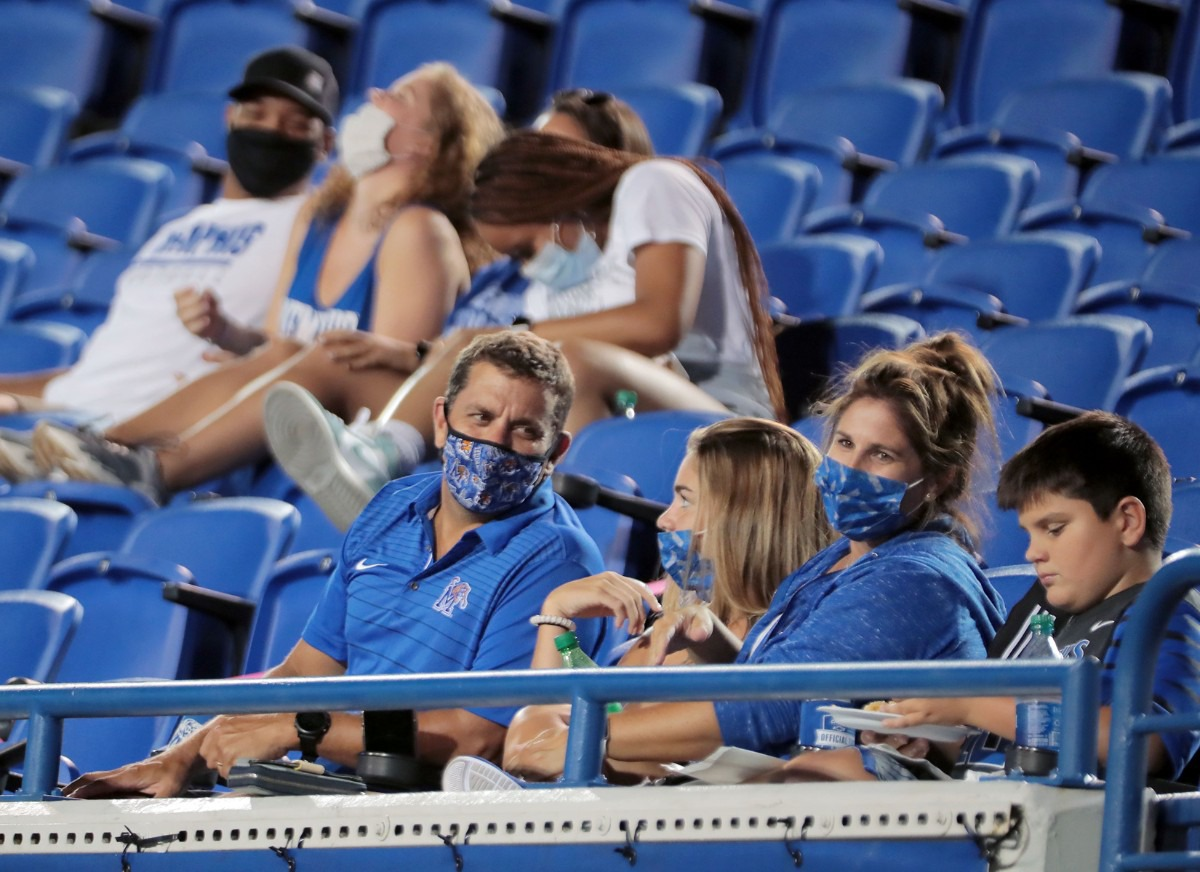 <strong>Tigers fans sit masked and socially distanced during the Tigers' home opener against Arkansas State at the Liberty Bowl Sept. 5, 2020.</strong> (Patrick Lantrip/Daily Memphian)