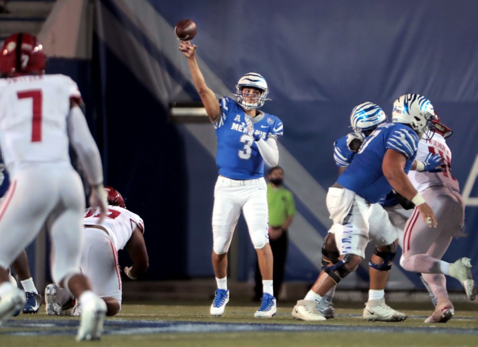 <strong>University of Memphis quarterback Brady White (3) throws a pass during the Tigers' home opener against Arkansas State at the Liberty Bowl Sept.5, 2020.</strong> (Patrick Lantrip/Daily Memphian)