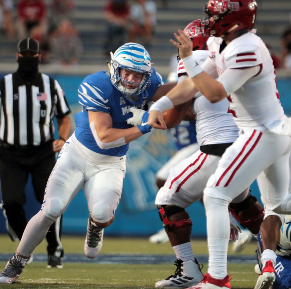 <strong>University of Memphis defensive end John Cartwright (95) rushes the passer during the Tigers' home opener against Arkansas State at the Liberty Bowl Sept. 5, 2020.</strong> (Patrick Lantrip/Daily Memphian)
