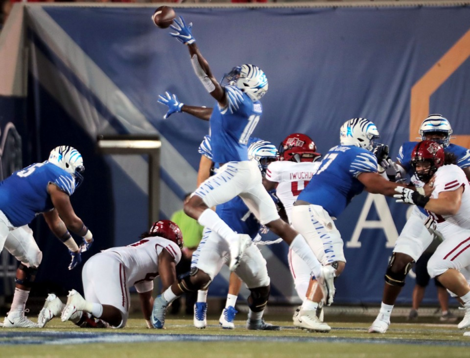 <strong>University of Memphis receiver Damante Coxie (10) just misses a pass from quarterback Brady White (3) pass during the Tigers' home opener against Arkansas State at the Liberty Bowl Sept. 5, 2020.</strong> (Patrick Lantrip/Daily Memphian)