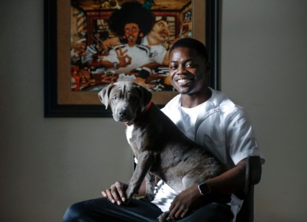 <strong>Mose Frazier (with Mazi, his 3-month-old&nbsp; puppy, Thursday, Sept. 3, 2020) expects to get his barber&rsquo;s license through the Tennessee College of Applied Technology next month, provided he passes his final exam.&nbsp;</strong>(Mark Weber/Daily Memphian)