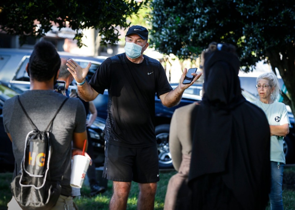 <strong>Collierville resident David DeGutis speaks to protesters gathered for a sit-in at Town Square Park on Monday, Sept. 7, 2020 in Collierville. A monument given to the town of Collierville by the United Daughters of Confederacy spurred a demonstration.</strong> (Mark Weber/The Daily Memphian)