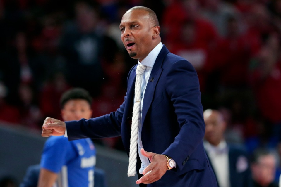 "<strong>Memphis head coach Penny Hardaway questions a foul call during the second half of an NCAA college basketball game against Houston, Sunday, March 8, 2020, in Houston. As the NCAA gets set announce its plans for the 2020-21 college basketball season, there are clear precedents and blueprints in place should it decide to go the bubble route. &ldquo;Maybe do it for maybe a week or two at a time, playing a certain amount of games and getting retested after you come back or something like that,&rdquo; Memphis coach Penny Hardaway said. ""It&rsquo;s possible, it&rsquo;s not going to be easy.&rdquo;</strong> (Michael Wyke/AP File)"