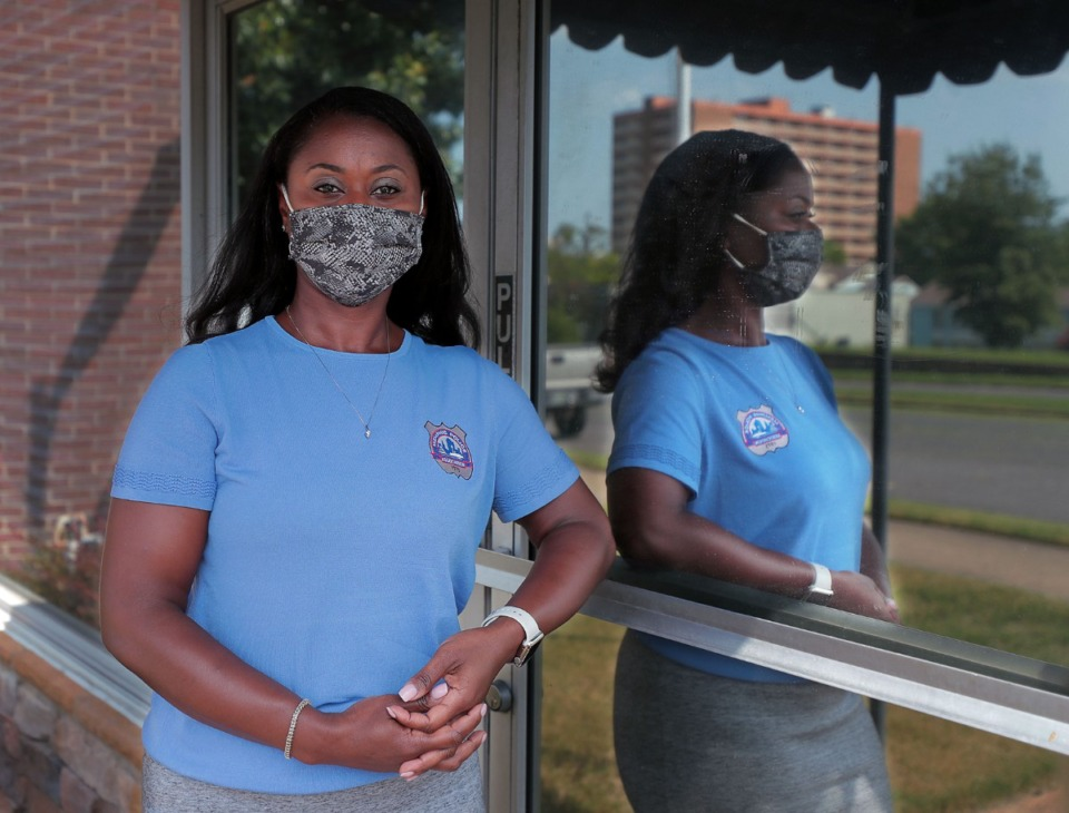 <strong>MPD Sgt. Essica Cage (outside the Memphis Police Association building Sept. 9, 2020) is the first Black woman selected to lead the police union.</strong> (Patrick Lantrip/Daily Memphian)