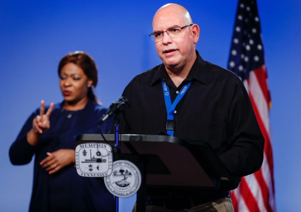 <strong>Shelby County Health Department Chief of Epidemiology David Sweat (right) gives an update about the coronavirus on Thursday, Sept. 10, 2020 during a COVID-19 Task Force briefing</strong>. (Mark Weber/The Daily Memphian)