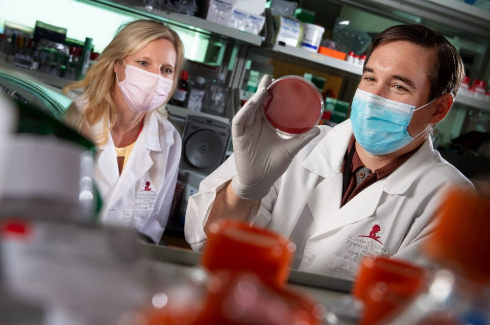 <strong>Stacey Schultz-Cherry (left) and Jason Rosch have shown that a specific bacterium, common in humans, not only makes influenza more virulent but also enhances how easily influenza is spread to others.</strong> (Submitted by St. Jude Children&rsquo;s Research Hospital.)