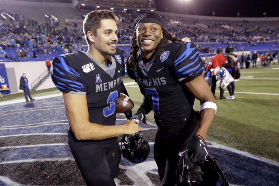 <strong>Former Memphis defensive back Chris Claybrooks (7), (with quarterback Brady White (3) after an NCAA college football game against Cincinnati, Friday, Nov. 29, 2019, at Liberty Bowl Memorial Stadium) is primarily a return specialist for the Jacksonville Jaguars, but he&rsquo;ll also serve as a reserve defensive back.</strong> (Mark Humphrey/AP)