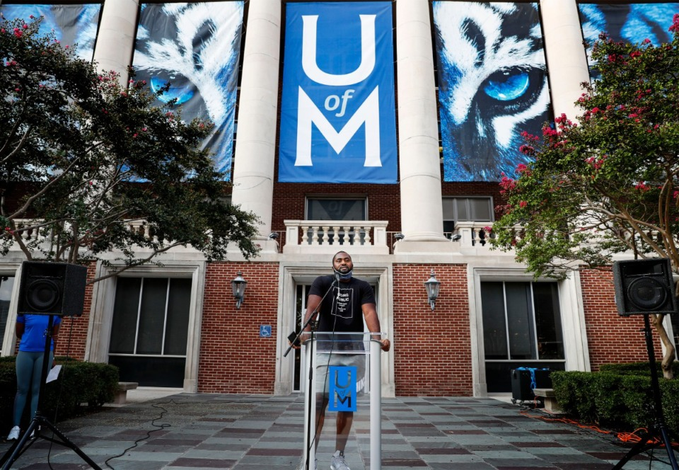 <strong>Memphis football offensive lineman Obinna Eze speaks during the unity walk for social justice and racial equality Friday, Sept. 11, 2020, in front of the U of M administration building.</strong> (Mark Weber/The Daily Memphian)