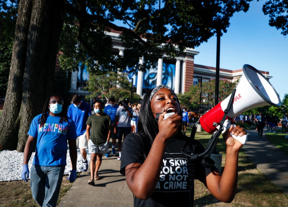<strong>Lady Tigers forward Lanyce Williams chants while leading a unity walk for social justice and racial equality Friday, Sept. 11, 2020, on the main campus.</strong> (Mark Weber/The Daily Memphian)