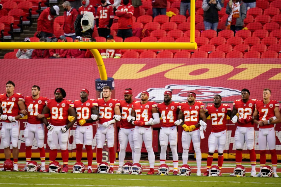 <strong>Kansas City Chiefs players stand for a presentation on social justice before an NFL football game against the Houston Texans Thursday, Sept. 10, 2020, in Kansas City, Mo. The NFL's new stance encouraging players to take a stand against racial injustice got its first test as some fans of the Super Bowl champion Kansas City Chiefs booed during a moment of silence to promote the cause, touching off a fresh debate on how players should use their voice.</strong> (Charlie Riedel/AP)
